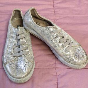 Girls Fun Silver slip on sneakers Size 2